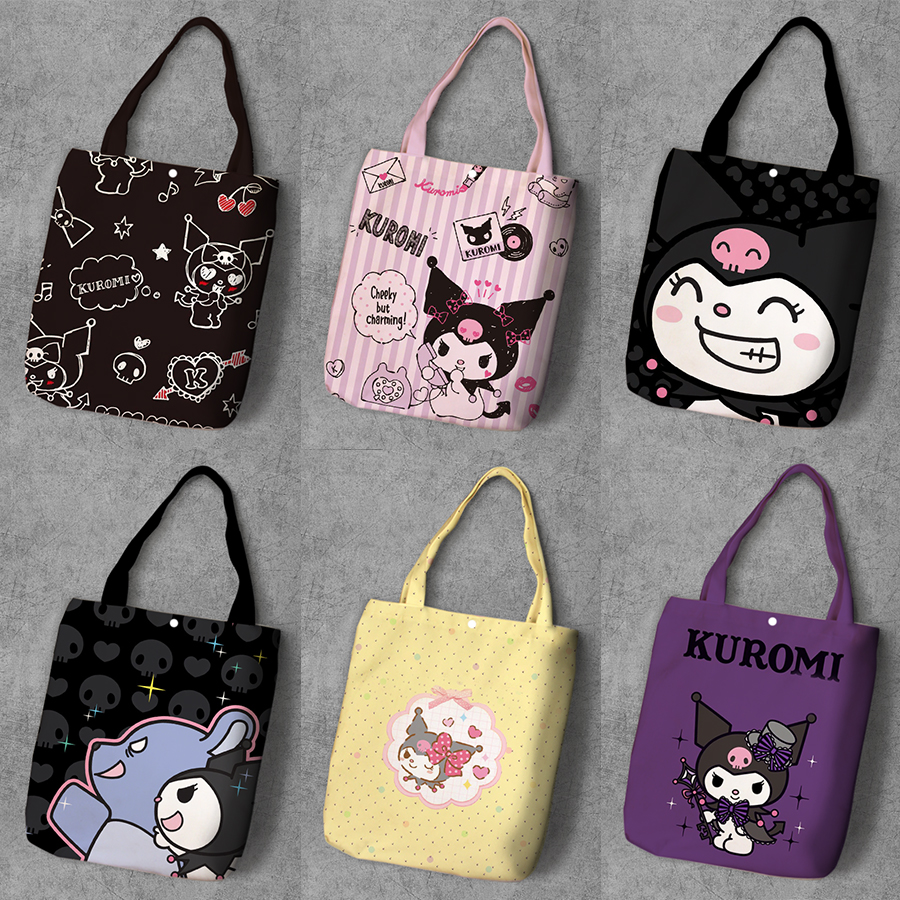 Kuromi Cartoon Student Printed Canvas Recycle Shopping Bag Large Capacity Customize Tote Fashion Ladies Casual Shoulder Bags