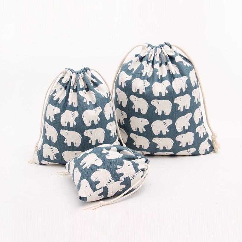 Cartoon Cotton Drawstring Bag Girl Festival Gift Candy Packaging Bags Cute Big Polar Bear Bags Women Travel Storage Coin Purse