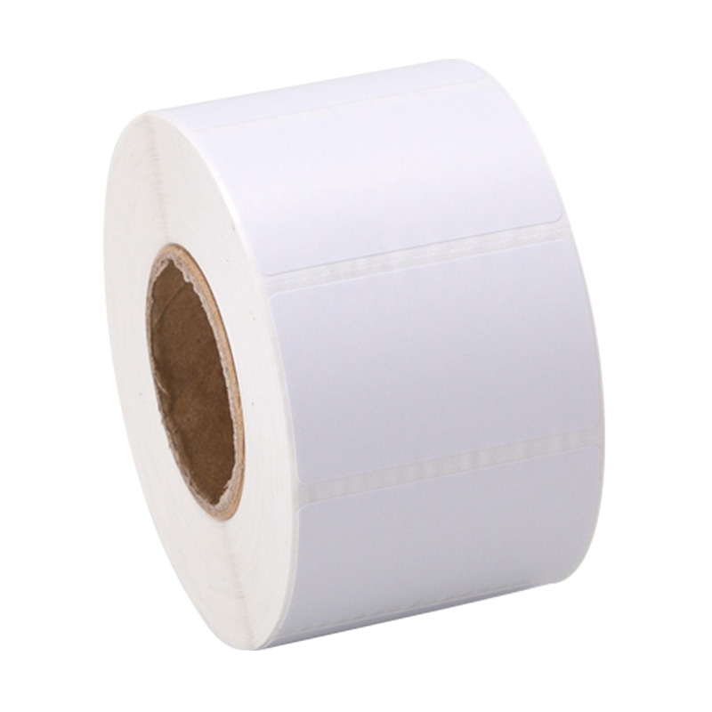 Waterproof 50x25mm*2000pcs/roll glossy bright white PET transfer sticker label paper accept customized order with other size