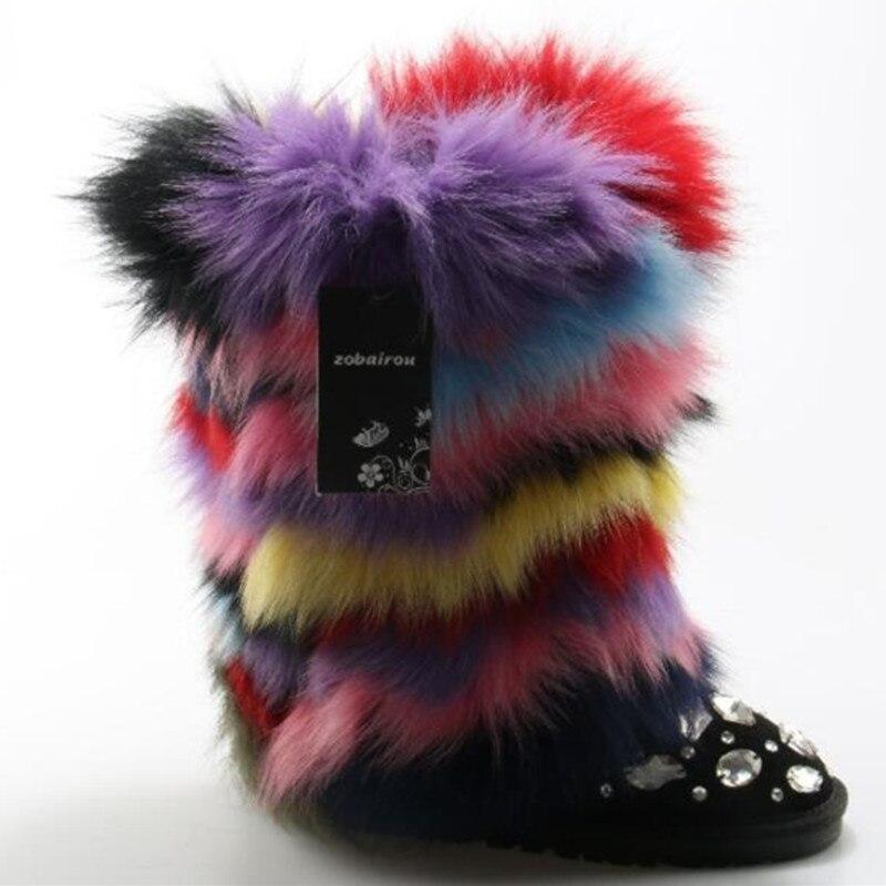 Лисий мех фланец зима Рождество маленький Ботильоны на каблуке Цвет из натуральной кожи со стразами плюшевые Дизайн Роскошные зимние сапог