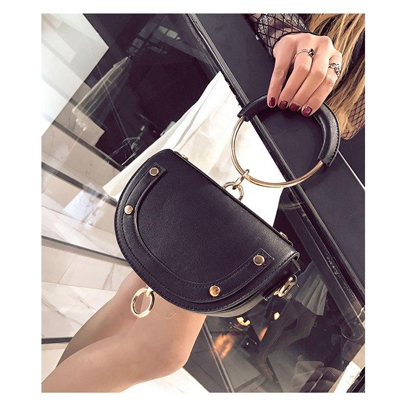 Women Saddle Bag Fashion PU Half Round Handle Bag Genuine Leather Shoulder Pack Leather Mini  Circle Ring Handbag B59