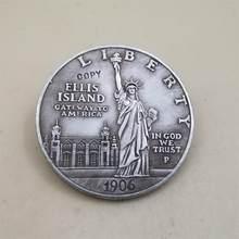 Réplique de vieilles pièces de collection américaines, 1906, pièce de reproduction de 1 dollar, alice island, cuivre plaqué argent, antique