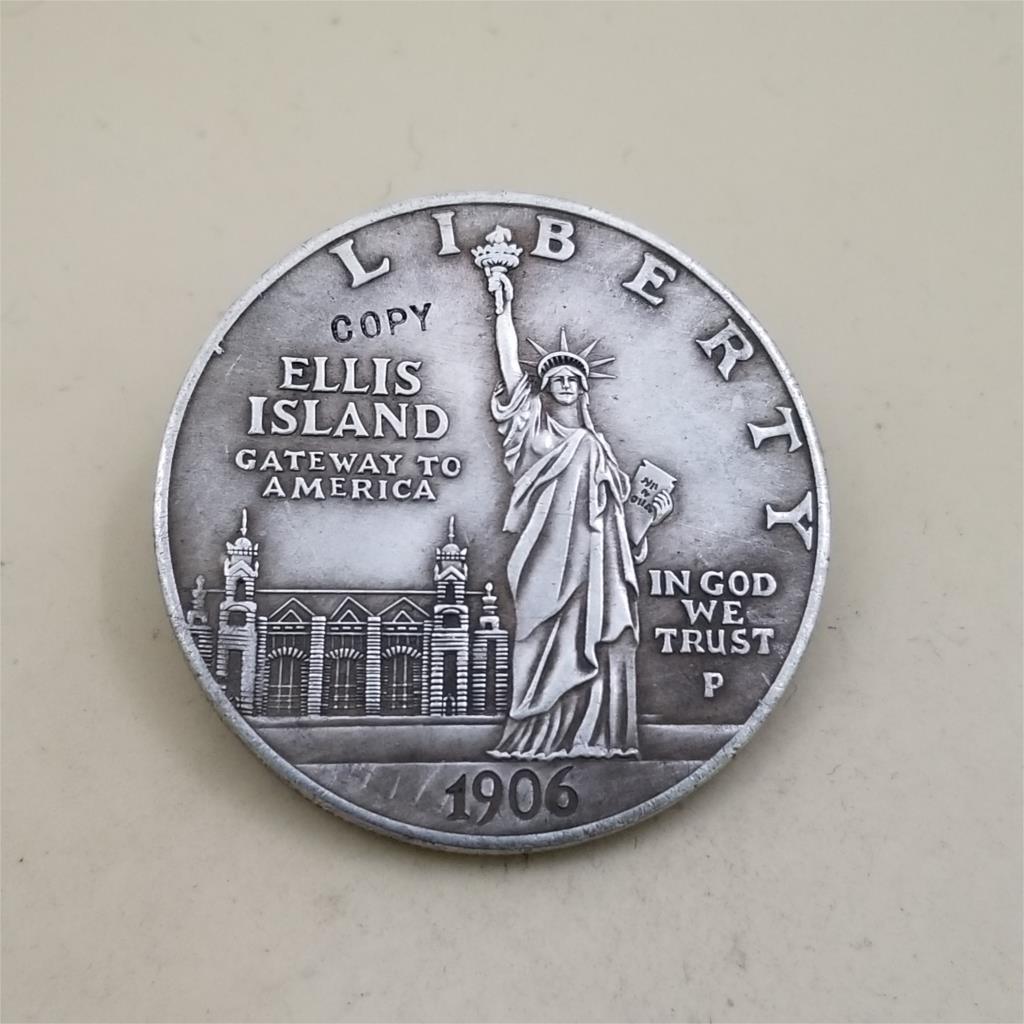 Amerykańskie stare repliki monet 1906 US Liberty 1 dolar kopiuj monety Ellis island antyczne posrebrzana miedź monety kolekcjonerskie