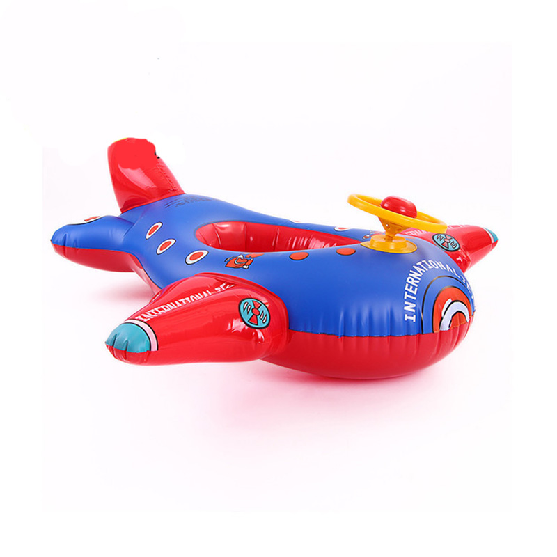 MrY Children Swimming Children's Boat Floating Circle Motorboat Thickened Large Aircraft With Steering Wheel Inflatable Sitting Seat