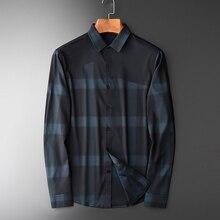 Minglu Fios Tingidos Tecidos De Seda Xadrez Camisas Dos Homens de Luxo de Negócios de Lazer Grade Camisas Dos Homens Dos Homens Camisa De Vestido Plus Size 4xl casuais