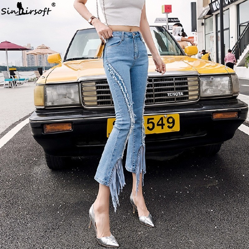 Fashion  Jean Flare Pants Women High Waist Tassel Burr Denim Ankle-Length Female Casual Slim Light Blue Trousers Summer