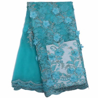 (5yards/pc) Aqua green African tulle lace fabric 3D flowers appliqued French lace fabric with beads for party dress FLE105
