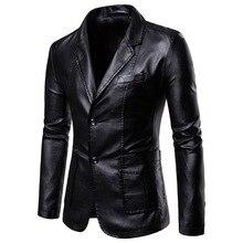 Европейский размер, костюм из искусственной кожи, зима, мужской блейзер с двойными пуговицами, приталенная мужская куртка из искусственной кожи, повседневные Костюмы с длинными рукавами