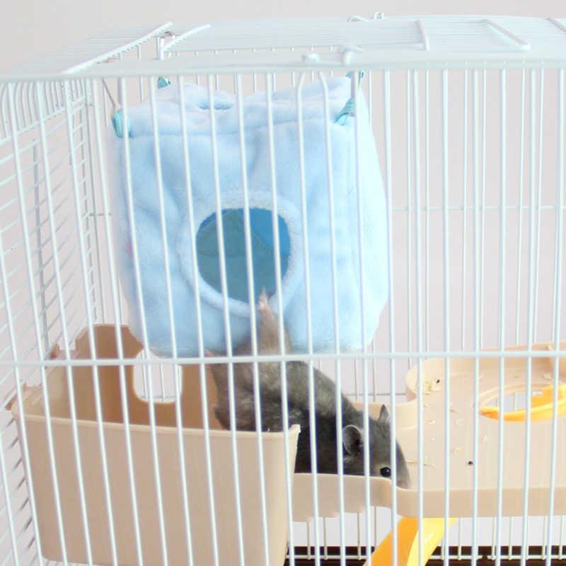 2 размера зимний теплый мягкий хлопок квадратный хомяк белка гамак подвесная кровать птичья клетка-гнездо маленький товар для животных цвет случайный