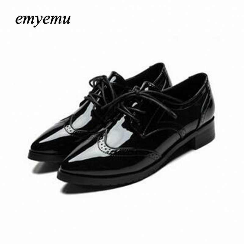 New Women Platform Flats spring Autumn High Quality Oxfords Solid Plain PU Leather Creepers Casual Oxford Shoes Woman big size 2018 platform shoes woman thick heels oxford shoes for women patent leather creepers casual oxfords spring flats women shoes