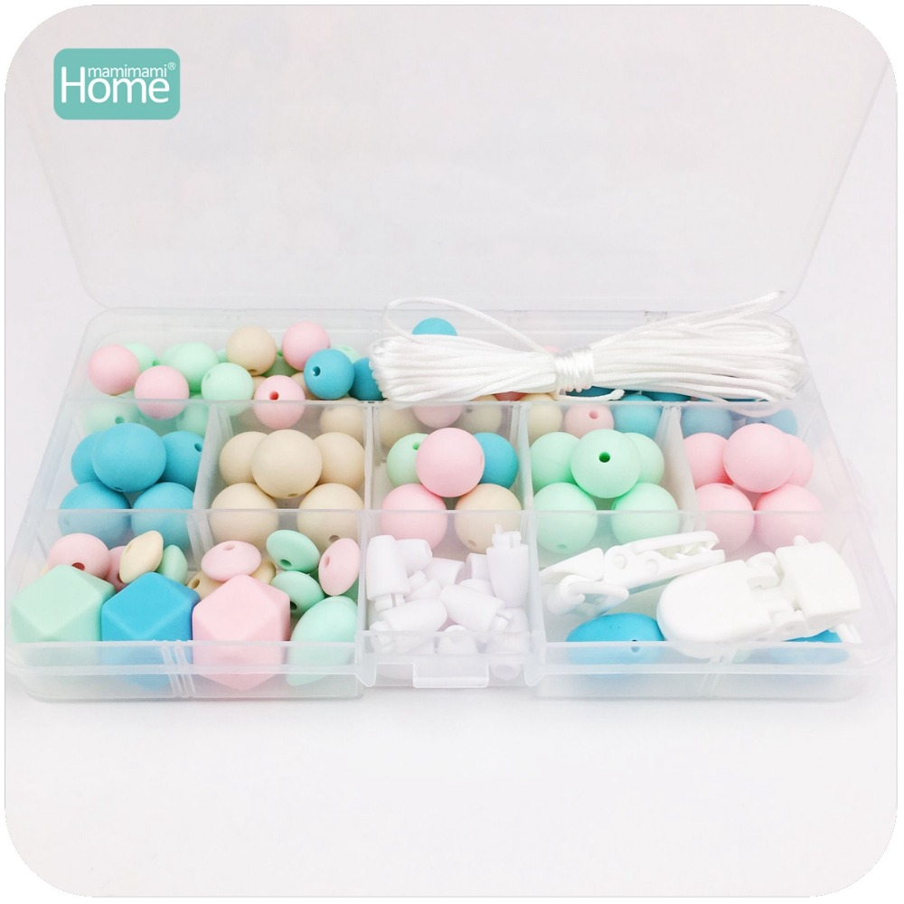 MamimamiHome Baby Toys Teething Accessories DIY Crafts Beads Set Teething Jewelry Hand Made Pacifier Clip Baby Rattle