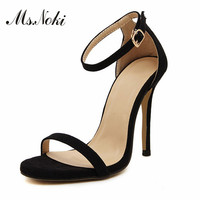 Nuova estate sandali peep toe marca eleganti sottili tacchi alti donne cinturino alla caviglia scarpe sandalias mujer argento oro scarpe partito donna