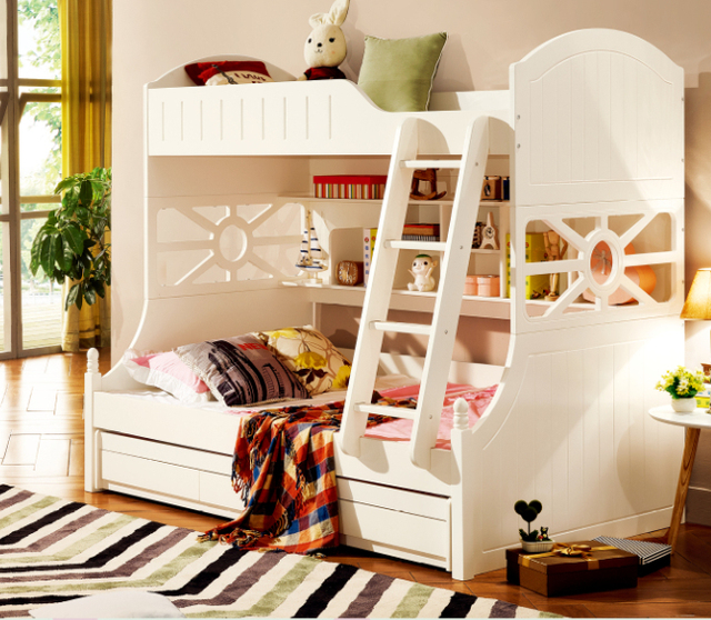 White Children Bedroom Furniture Kids Double Deck Bunk Bed