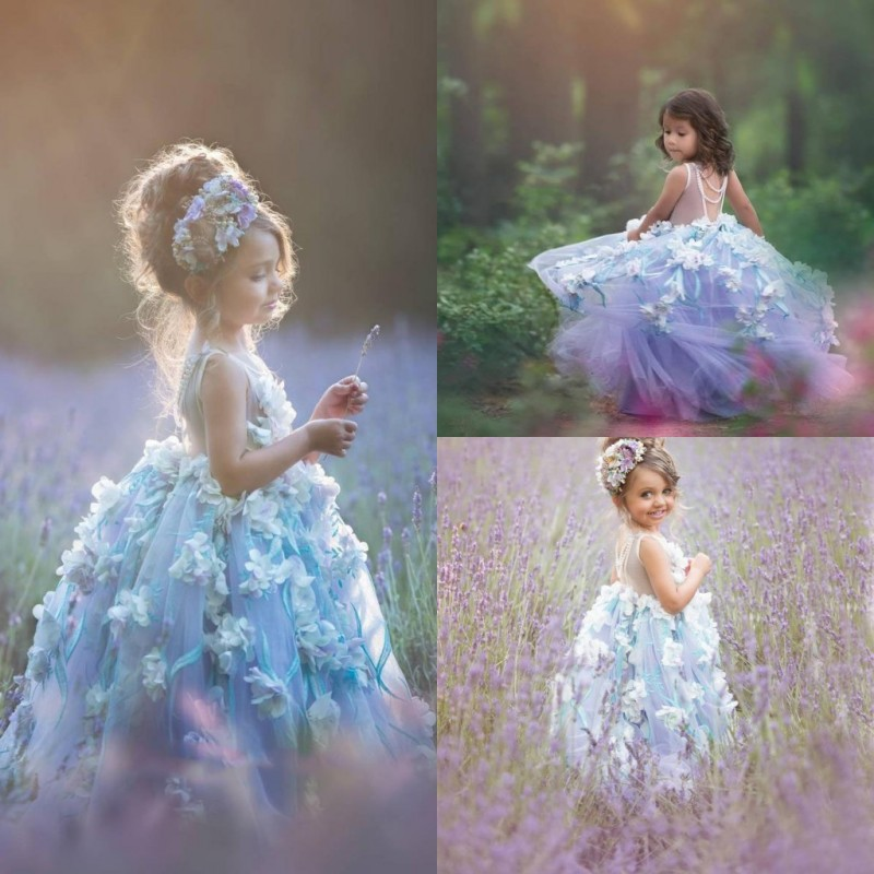 2019 Flower Girl Dresses Custom Made Sleeveless 3D Floral Appliques Girls Communion Dress With Pearls