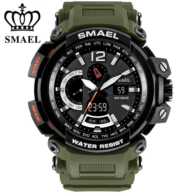 Top Brand SMAEL Watch Men Sports Watches Dual Display Analog Digital LED Electronic Quartz Wristwatch Waterproof Military Watch smael 1708b