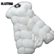 2016 Winter Fashion Long Vest  Women Coat Warm Fur Leisure Vest High-Grade Faux Fur Coat Fox Fur Tops for women