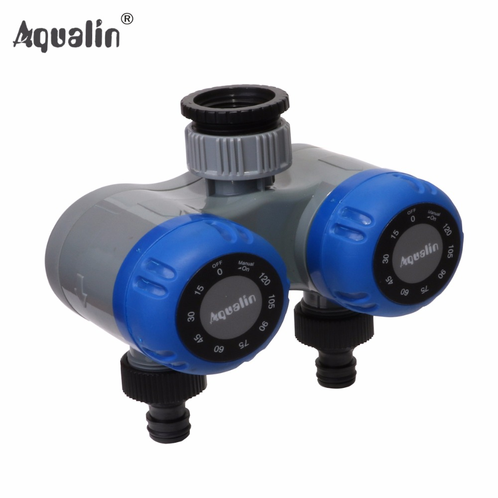 Dual-outlet Two Outlet Mechanical Hose Faucet Water Timer Garden Irrigation No Batteries Required #21202