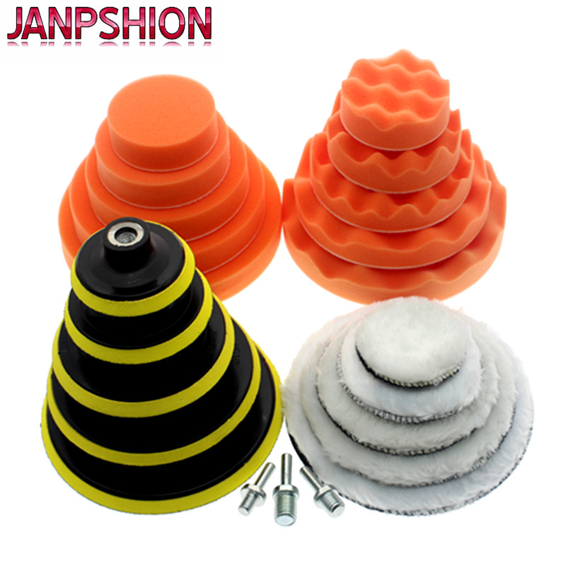 JANPSHION 3' 4' 5' 6' 7' polishing pad car waxing sponge Wool polishing disc For Car paint Care 75mm 100mm 125mm 150mm 180mm 1pc white or green polishing paste wax polishing compounds for high lustre finishing on steels hard metals durale quality