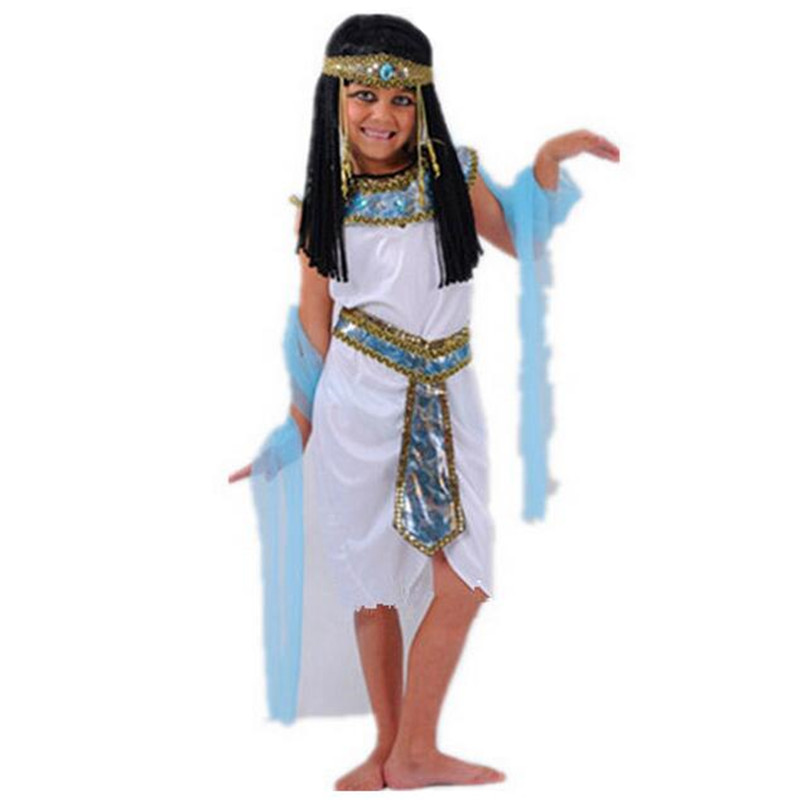 Vit egyptiska Cleopatra Kostymer Halloween Cosplay Masquerade Party Barn Söt Exotisk Prince Party