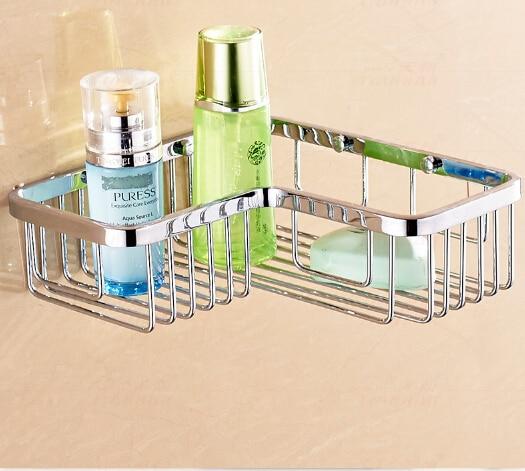 Top Quality Chrome Single Tiers Total Brass Bathroom Corner Shelves Basket  Holder Bathroom Soap Holder Bath