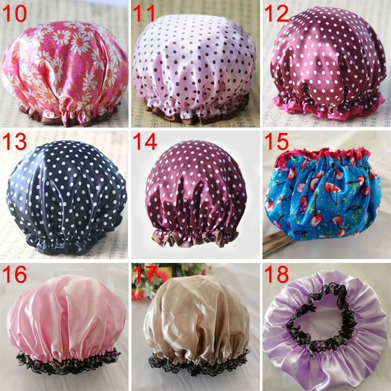 Lovely Thick Women Shower Caps Colorful Double Layer Bath Shower Hair Cover Adults Waterproof  Hot Sale