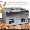 XEOLEO Commerciale friggitrice a gas GPL In acciaio inox friggitrice Doppio serbatoio Doppio cestini Friggitrice Fritto Francese/macchina di Pollo 6L * 2