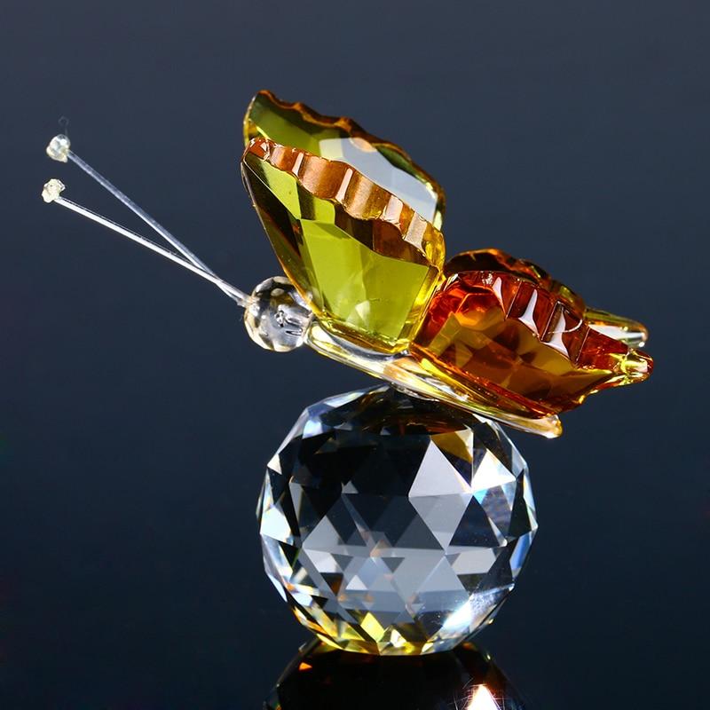 H&D Crystal repülő sárga pillangó kristálygömb alap figura - Lakberendezés - Fénykép 3