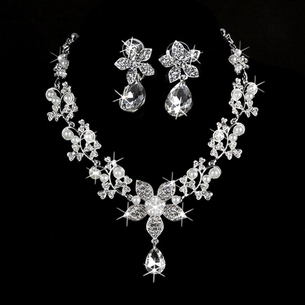Bridal Pink Rhinestone Crystal Wedding Flower Necklace Earrings Set N296