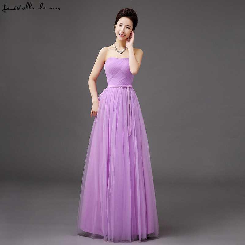 ... Vestido madrinha 2018 new Tulle Strapless champagne silver grey sky blue  blush light purple bridesmaid dresses 7969bffe2db9