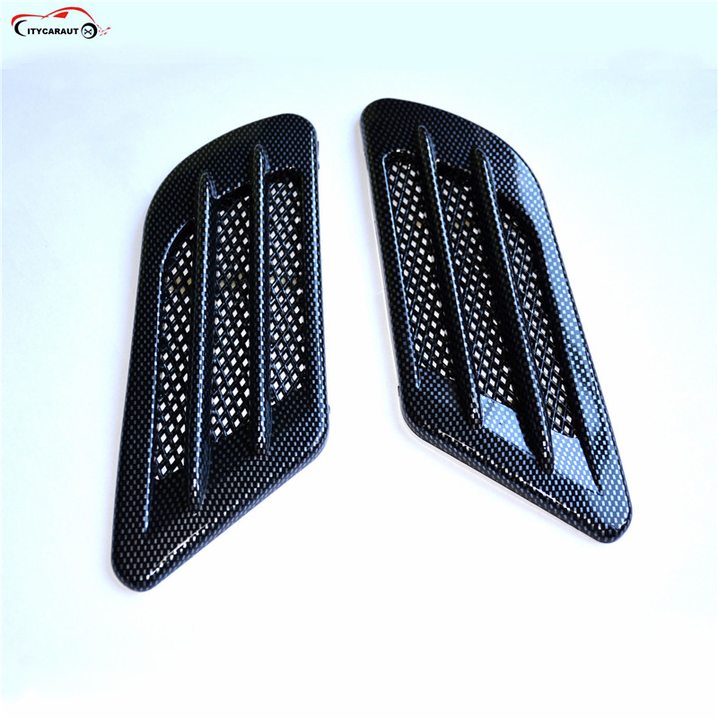 2PCS Shark Gill Side Vent Mesh Air Flow Fender Car Styling Modified Auto Racing Body Decal for TOYOTA Mazda Audi Hyundai Ford epr car styling for nissan 370z z34 frp fiber glass front bumper air duct set fiberglass air vent accessories racing trim
