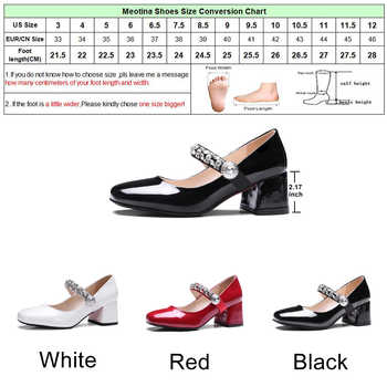 Meotina Women Mary Janes Shoes Crystal Shoes Luxury High Heels Pumps Rhinestone Patent Leather Designer Red Lady Footwear Black
