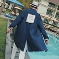 17 paño puesto rebabas en la marea de chun xia nueva largo largo masculino denim chaqueta de la capa