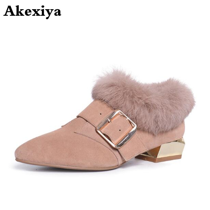Shoes Female New Winter And Autumn Thick Wild with Lok-Fu Lazy-Net Red Fairy Fur Rabbit-Fur