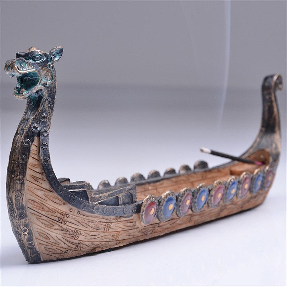 Retro Weihrauch Brenner Traditionellen Chinesischen Design Drachen Boot Weihrauch Stick Halter Brenner Hand Geschnitzt Carving Räuchergefäß Ornamente