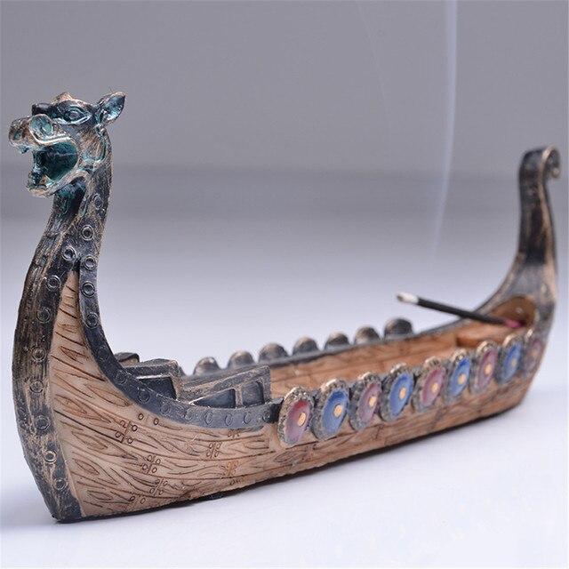 Retro queimadores de incenso tradicional chinês design dragão barco incenso vara titular queimador esculpida à mão cinzelando ornamentos de incenso