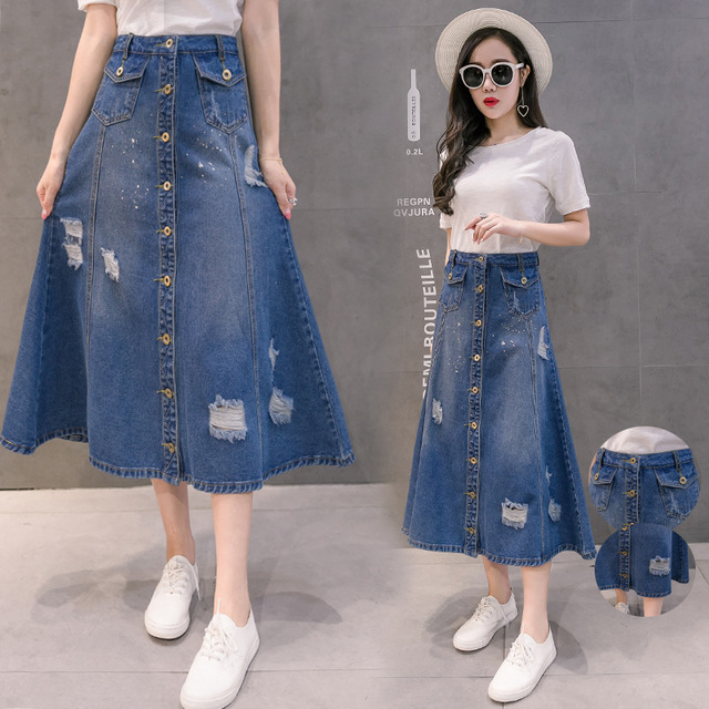 New Fashion Women s Denim Skirts 2018 Spring Summer Girls Student Retro  Single-breasted Holes All 4f6a791c8422