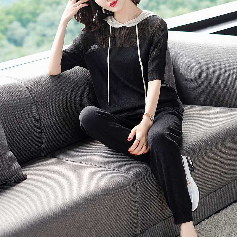 2XL Brand Suit 2019 Spring Summer Women Suit New Casual Sets Half Sleeve Hooded T shirt + Long Pencil Pants 2 Piece Suits Female - 3