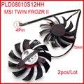 O Envio gratuito de 2 pçs/lote POWER LOGIC PLD08010S12HH DC12V 0.35A 4Pin Para MSI N560GTX N460GTX TI N570GTX N580GTX TWIN FROZR II fã