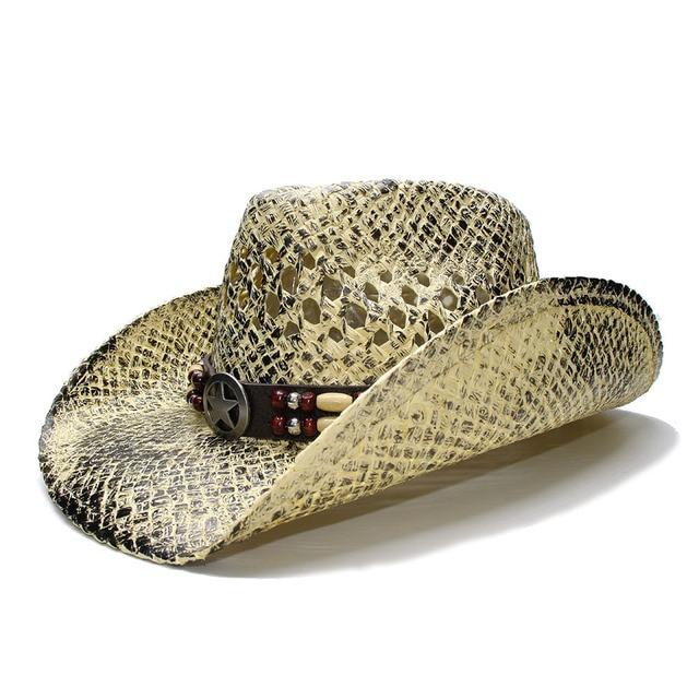 LUCKYLIANJI Black Women s Men s Summer Straw Beach Wide Brim Cowboy Western  Cowgirl Hat Hollow Star Sign Leather Band(Adjusted) 06d24b46f7e