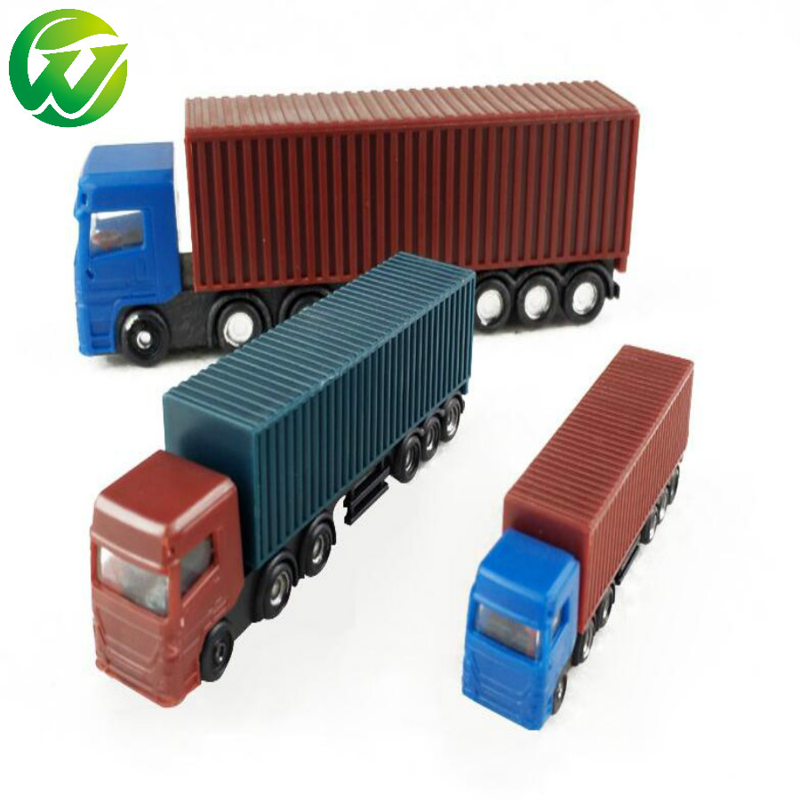 1:100 scale 12cm long architectural model plastic miniature Container truck trailer for model building train layout