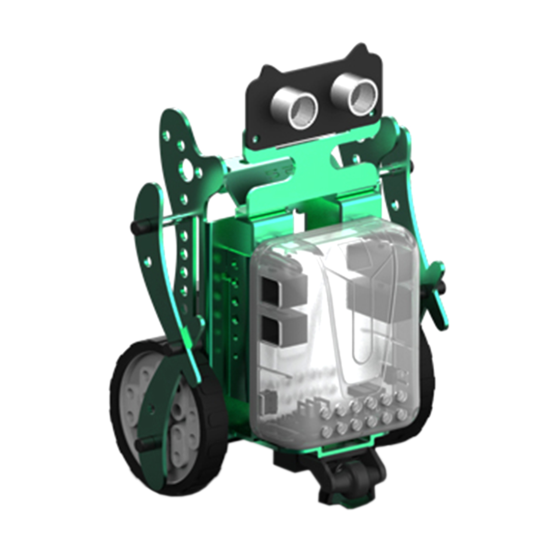 New 3-in-1 DIY Neo Programming Scratch Intelligent Obstacle Avoidance Car Robot Kit Electronic Toy Kids Adults - Green/Red