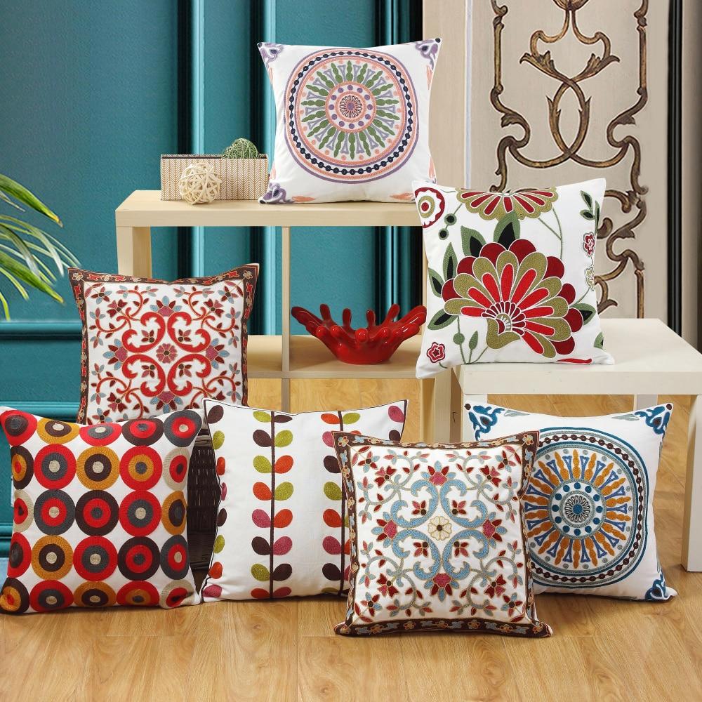 Geometric Bohemian Embroidered Pillowcase Cushion Cover Throw Pillow Case For Sofa Chair Car Home Decor