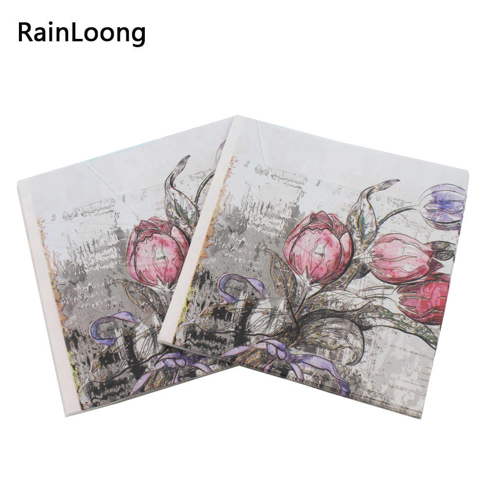 [RainLoong] Rose Paper Napkins With Architecture Party Tissue Decoupage Napkins Decoration Serviettes 33*33cm 1pack/lot