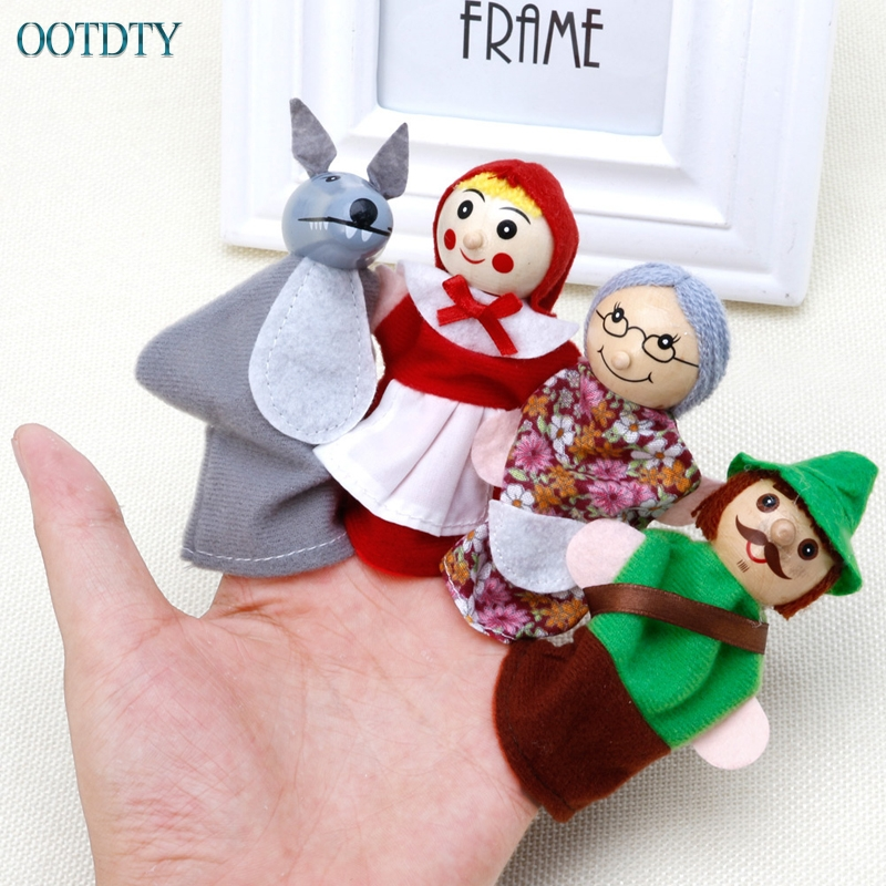 High Quality Little Red Riding Hood Story Play Game Finger Puppets Toys Set Gift #330
