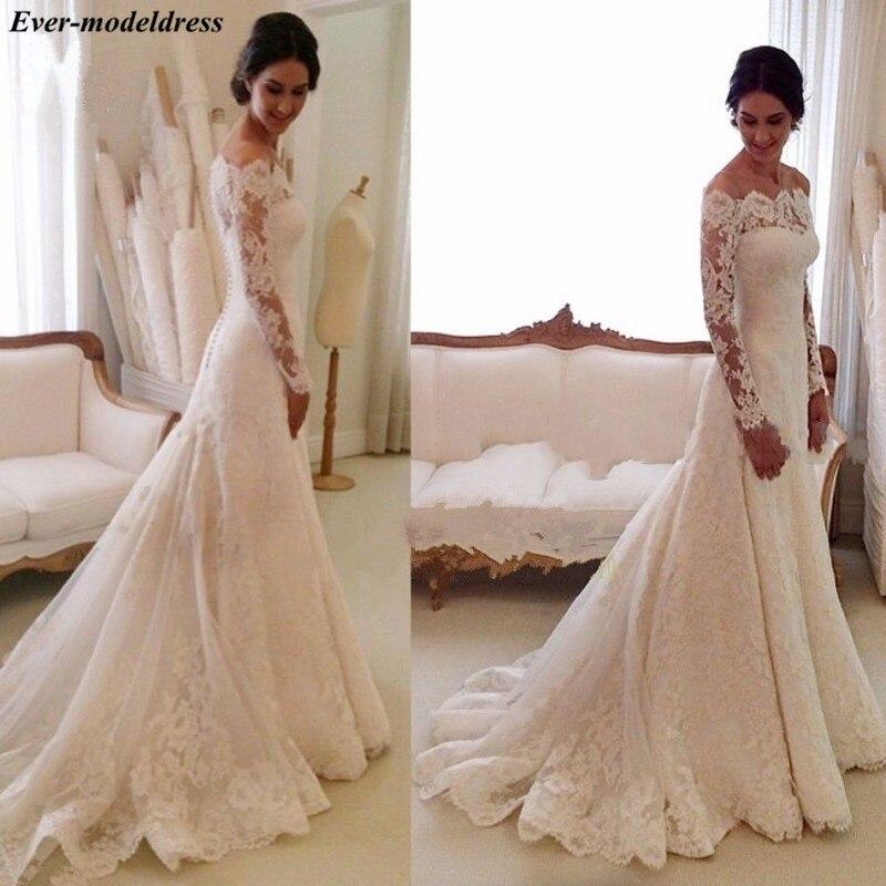 Dashing Arabic Vintage Lace Mermaid Wedding Dresses With Long Sleeves Boat Neck Appliques 2019 Bridal Gowns Vestido Novia Playa 100% Original
