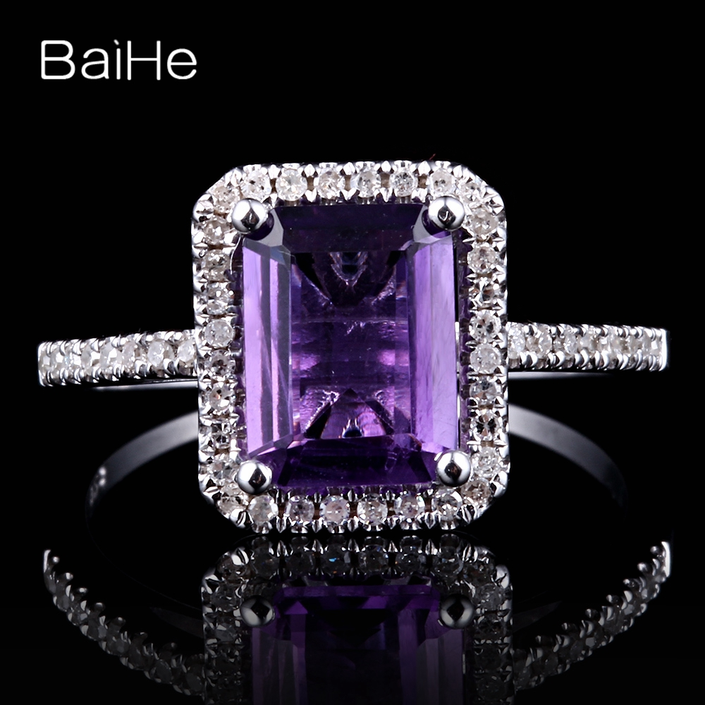 BAIHE Solid 10K White Gold 1.9ct Certified Emerald cut Flawless 100% Genuine Amethyst Engagement Women Trendy Fine Jewelry Ring