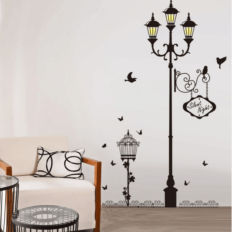 Night Lights Bird Cage Wall Stickers Home Decor Bedroom Living Room Home Decoration Stickers Wall Decor Dlx0229 In Wall Stickers From Home Garden On