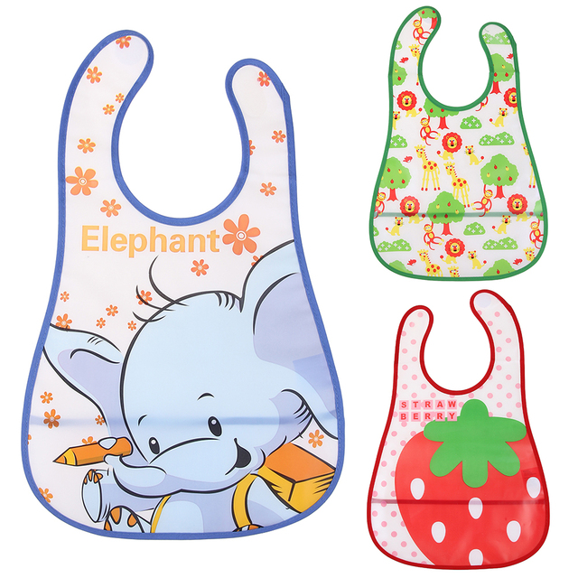 Baby Bibs Waterproof Kids Cute Cartoon Elephant Giraffe Strawberry EVA Baby Apron Children Baby Bandana Bibs Girls Infants Burp