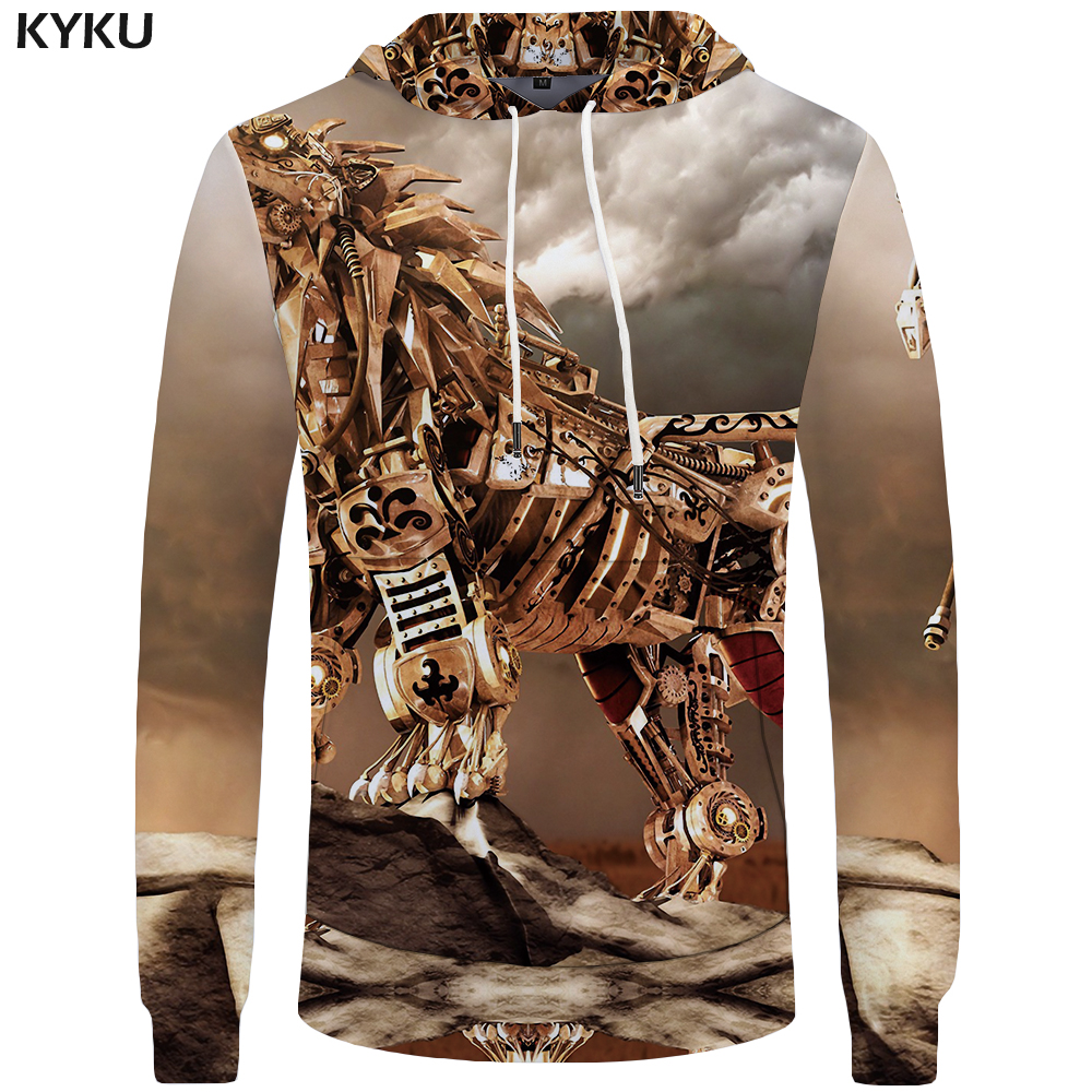 KYKU Brand Wolf Hoodies Men Metal Sweatshirts Punk Hoddie Rock Big Size Mens Clothing Sweatshirt 3d Hoodies Hooded Funny