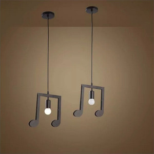 Image 4 - Feimfeiyou A Z słowa postać muzyczna e27 kreatywny czarny wisiorek Led lampa dla Bar sypialnia bookroom lampa wisząca